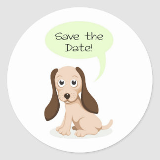 Save the date puppy dog stickers