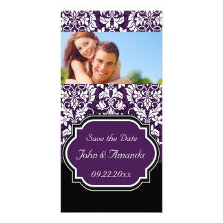 Save the Date ~ Purple and Black Damask Custom Photo Card