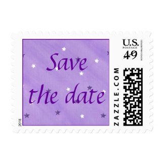 Save the date, Purple and White Stars Stamps