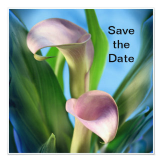 Save the Date Purple Calla Lilies Greeting Card