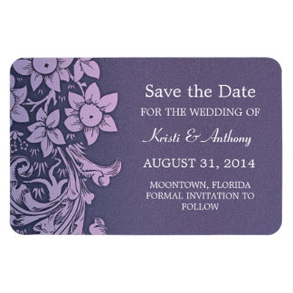 save the date purple elegant floral magnets