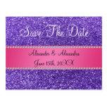 Save the date purple glitter pink stripe postcard