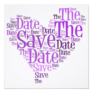 Save the Date - Purple Heart Personalised Invites