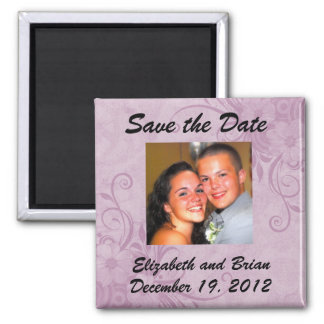 Save the Date Purple Lilac Floral  Photo Magnet