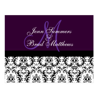 Save the Date Purple Monogram Damask Card Postcard