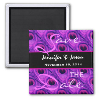 Save the Date Purple Peacock Feathers Magnet