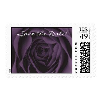 Save the Date Purple Rose Wedding Stamp