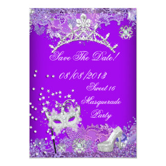 Save The Date Purple Sweet Sixteen 16 Masquerade 2 5x7 Paper Invitation Card