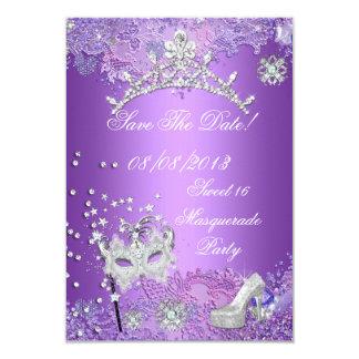 Save The Date Purple Sweet  Sixteen 16 Masquerade Custom Invitation