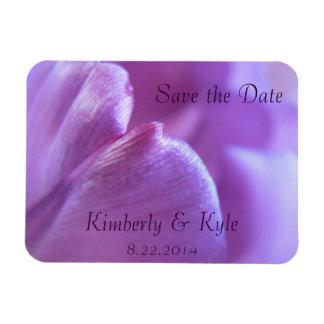 Save the Date Purple Tulip Petal Flexible Magnet