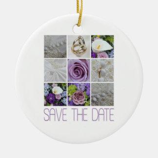 Save the Date Purple Wedding Collage Ceramic Ornament