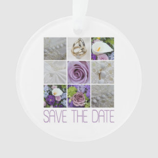 Save the Date Purple Wedding Collage Ornament