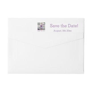 Save the Date Purple Wedding Collage Wrap Around Label