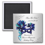 Save The Date Quinceanera Sweet 16 Masquerade Blue 2 Inch Square Magnet