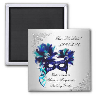 Save The Date Quinceanera Sweet 16 Masquerade Blue Magnet