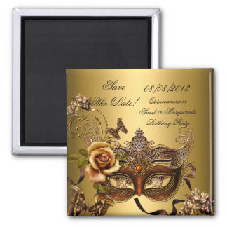Save The Date Quinceanera Sweet 16 Masquerade Gold 2 Inch Square Magnet