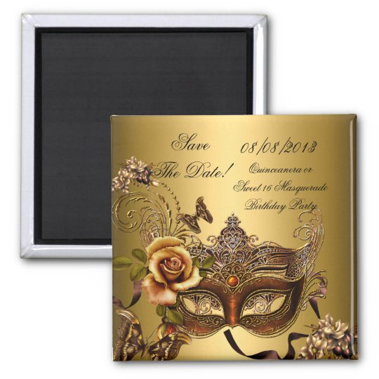 Save The Date Quinceanera Sweet 16 Masquerade Gold Magnet ...