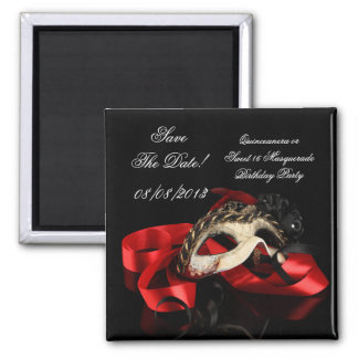 Save The Date Quinceanera Sweet 16 Masquerade Red Magnet