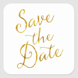 Save The Date Quote Gold Faux Foil Engagement Square Sticker