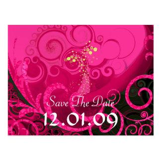 Save the Date Rasberry Cala Lily Postcard