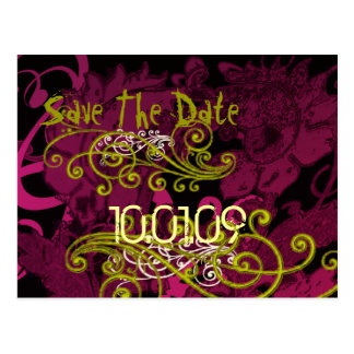 Save the Date- Rasberry Floral Dis... - Customized Postcards