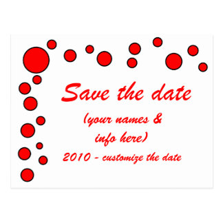 SAVE THE DATE (red/black) circles Postcard