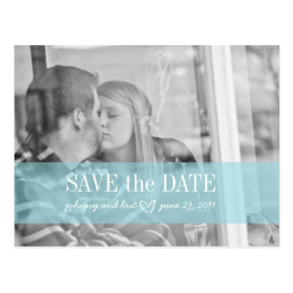 save the date | red blue postcard