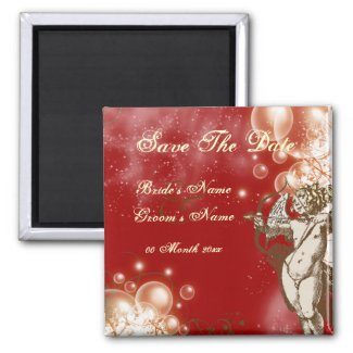 Save the date red cream wedding magnet