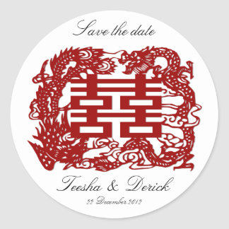 save the date red double happiness wedding classic round sticker