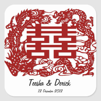 save the date red double happiness wedding square sticker