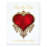 Save the Date Red Gold Heart White Card