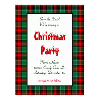 Save the Date Red Green Plaid Custom Postcard