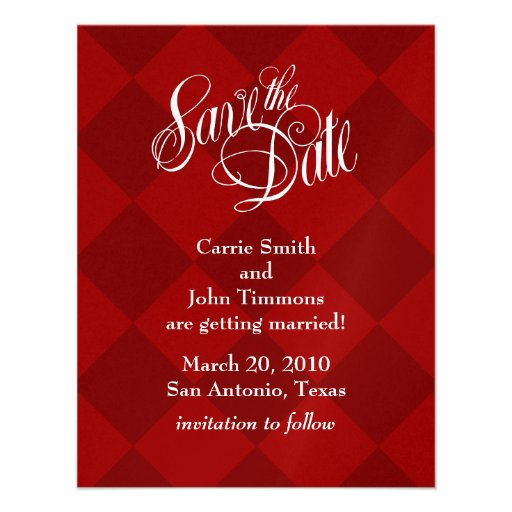Save the Date Red Harlequin Invitation