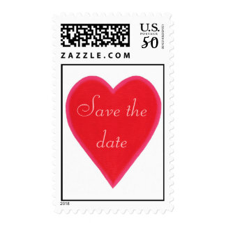 Save the date, red heart, postage  stamps