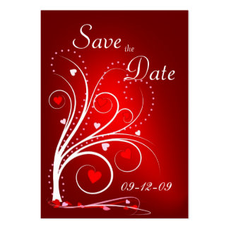 Save the Date - Red Hearts Profile Card Large Business Cards (Pack Of 100)