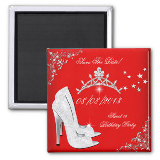 Save The Date Red High Heels Shoes Tiara 2 Inch Square Magnet