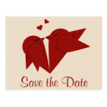 Save the Date Red Lovebirds Wedding Photo Postcard