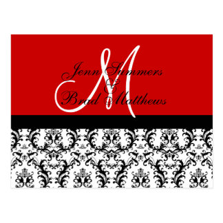 Save the Date Red Monogram Damask Card Post Card