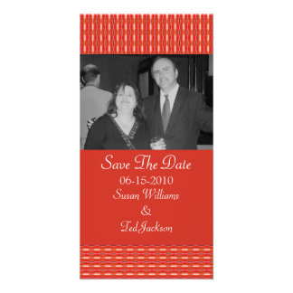 Save the Date red pattern Photo Card