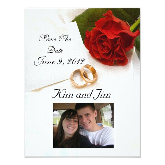 Save the Date red rose invitation