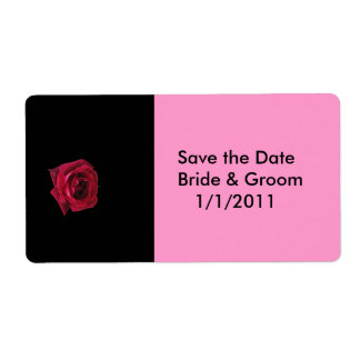 Save the Date Red Rose Label