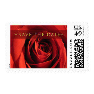 Save The Date-Red Rose Medium Postage