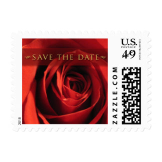 Save The Date-Red Rose Small Postage