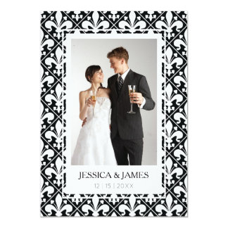 Save the Date Renaissance Black and White Classic Card