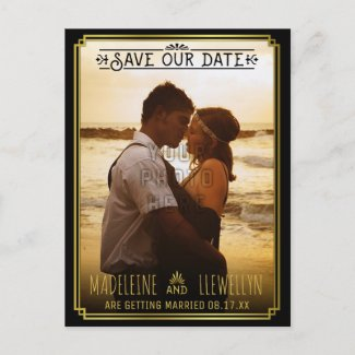 Save the Date Retro Black Gold Deco Wedding Photo Announcement Postcard