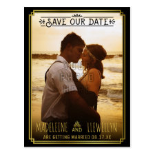 Save the Date Retro Black Gold Deco Wedding Photo Postcard