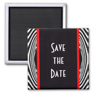Save the Date Retro Chic Wedding Zebra Zigzag 2 Inch Square Magnet