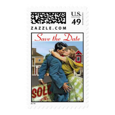 Save the Date Retro Love Stamp