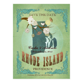 Save The Date- Rhode Island Map With Lovely Birds Postcard