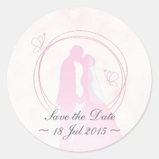 """Save the Date"" Romantic Dreamy Wedding Couple Classic Round Sticker"